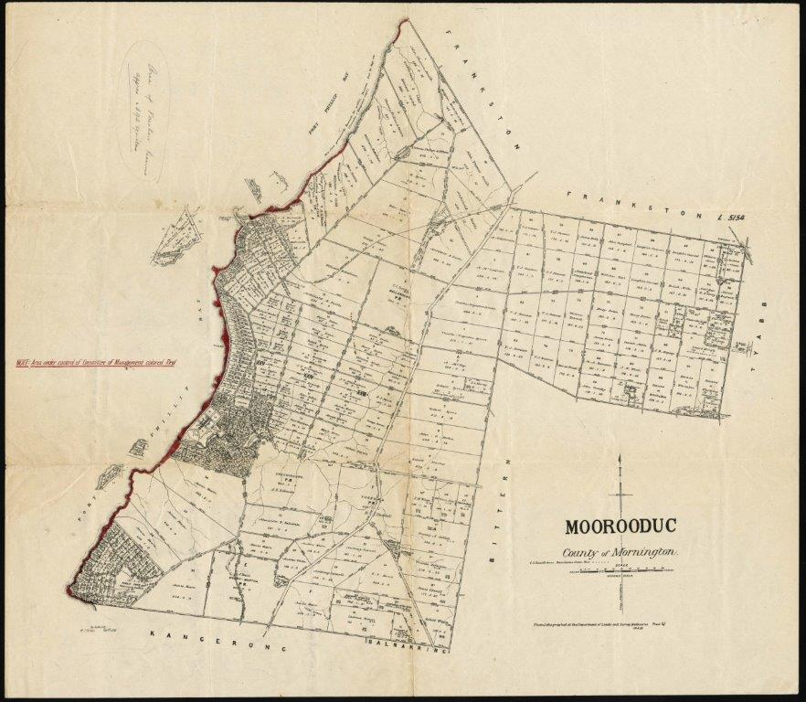 Image of a Moorooduc Parish Plan showing the Mornington Foreshore Reserve